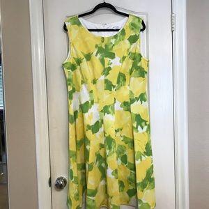 Studio One size 16 W abstract lemon print dress